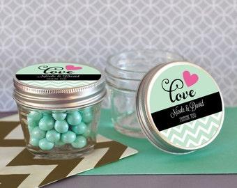 4 oz Mason Jar & Mason Jar Labels Mini Mason Jar Wedding Favors Small Mason Jars with lids Personalized Wedding Favors (set of 24)