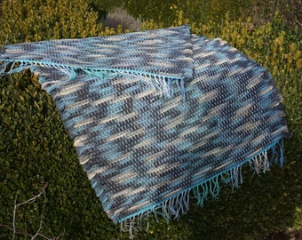 Cloudy Blue Woven Wool Rug