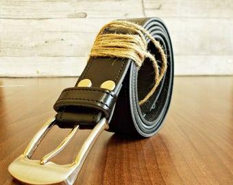 Black mens belt, Black vegan leather, Handmade, Mens gift, Leather Supplies, Leather accessories, Thick black leather, Leather belt