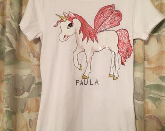 Unicorn t-shirt, can be done if different colours and can be personalised, all sizes available