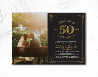 Rustic wedding anniversary Invitation 25th / 50th Anniversary