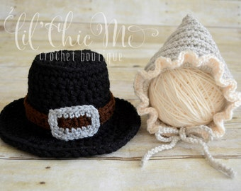 Baby Pilgrim Bonnet~Thanksgiving Photo Prop/Baby Gift~READY TO SHIP!