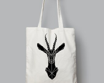 Cute Animal Print Tote Bag with Geometric Gazelle  design, Long Handled Eco-friendly - Animal tote bag, Funky Cotton Shopper