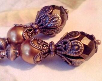 Copper Swarovski Pearls, Copper Bead Earrings, Vintage Style Earrings, Handmade Earrings, Victorian Style Earrings, Renaissance Earrings