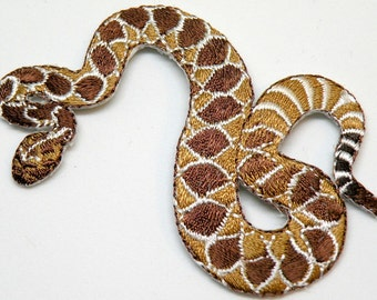 The western diamondback rattlesnake or Texas diamond-back Rattle Snake,  Wildlife, Iron On Patch or sew on Looks Real