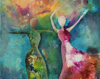 Dance With the Breeze, Print from Original Acrylic Painting, Home Decor, Abstract Art, Woman, Beautiful Essence, Colorful, Celebrate Women