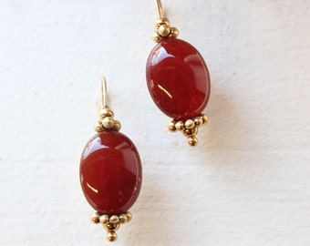 Vintage Oscar De La Renta Antiqued Gold Tone Dangling Earrings with Ruby Red Cabochon Beads#OS152