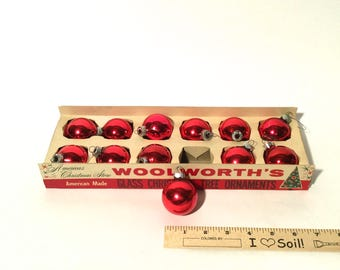 Vintage 1960s New in Box Set of 12, Woolworth's American Made, MCM, Red Mercury Glass Christmas Ornaments