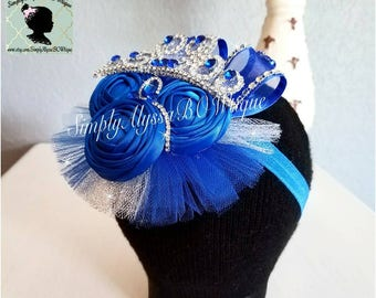 "New! 5""width,5""length Royal Blue/Silver Pageant handmade roses Bow with handmade jeweled crown monogram,organza,silver diamond mesh jewels,c"
