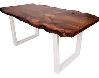 Live Edge Elm Dining Table on Powder Coated Legs