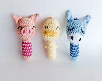 Farm animal crocheted rattle