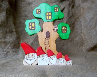 Wooden Gnomes Waldorf Dwarfs Wooden tree house Gift for children Kids gifts Christmas gift Toy set