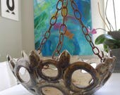 ON HOLD for SARAH Unusual Signed Hanging Art Pottery planter, Mid Century Modern, Bohemian Modern