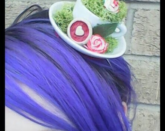Queen of Hearts Tea Cup Hair Fascinator / Mad Hatter's Tea Party Tea Cup Hair Accessory