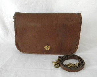 Vintage Coach NYC Factory British Tan Leather Convertible Clutch