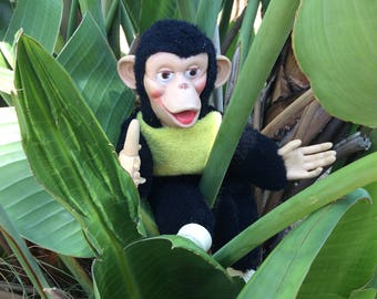 Zippy the chimp from the 60s and 70s . Vintage monkey Stuffed animal
