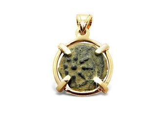 Ancient coin jewelry-Ancient coin pendant-Widow's mite coin-14k yellow gold.FREE SHIPPING.