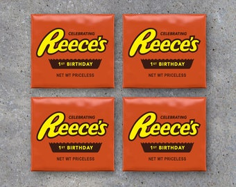 Personalized Birthday Reese's Peanut Butter Cup Toppers – Printable Files – Party Favors customized with name and age – Birthday Party Ideas