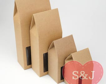 6.5 x 6.5 x 13cm Kraft Brown Paper Cardboard Party Favour Biscuit/Cookie Boxes /w window