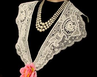 Antique Vintage 1920s 20s Flapper Roaring Twenties Ecru Cream Lace Decorative Collar Edwardian