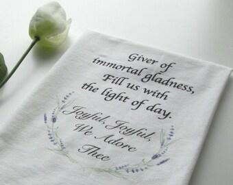 Flour Sack Towel, Inspirational Dish Towel, Hymn Towel, Tea Towel, Hymn, Kitchen Gift, Kitchen Towel, Housewarming Gift, Inspirational Gift