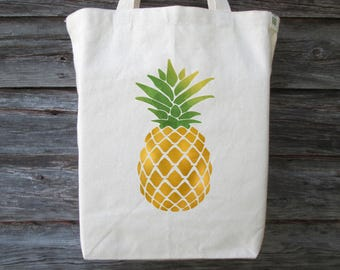 Pineapple Tote, Cotton Canvas Tote, Pineapple Tote Bag, Pineapple Bag, Pineapple, Wedding Tote, Hawaii Tote, Wedding Welcome Bag,