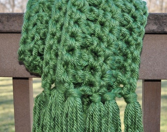 FREE SHIPPING-Crochet Fringe Scarf- Super Chunky, Moss Green, Rustic, Scarf- Made With Two Strands of Yarn for an Extra Thick Scarf