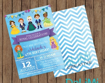 5 x 7 inch Princess and Prince Invitation - Birthday Invitation - Unisex Invitation - Disney Inspired Invitation - Printable Invitation!