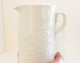 Medium sized porcelain jug with dragonflies textured into clay 13cm/ 5 inches tall