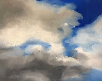 Cloud study 2, skyscape, original daily oil painting on panel 20x15cm