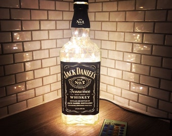 1 Litre Remote LED Jack Daniels bottle lamp light In Warm White