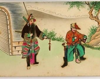 Vintage hand painted Chinese collage postcard of Samurai warrior and servant, elaborate costumes, pencil, paints, gilt, postcard never used