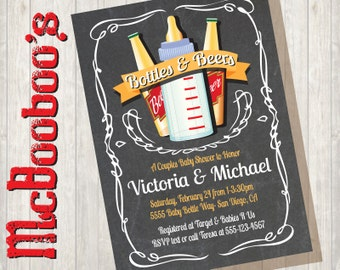 Baby Bottles and Beer Couples baby shower invitations on a Chalkboard background