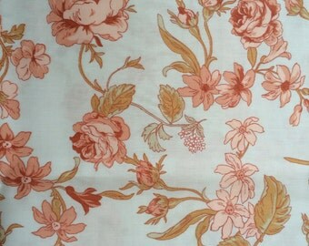 Floral Cotton sateen fabric -  Scandinavian design - Peach Orange Flowers- Pure cotton - 59 inches (150 cm) wide