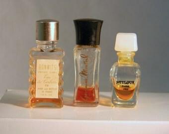 3 Vintage Glass Perfume Bottles