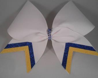 Cheer Bow Custom White Yellow Royal by BlingItOnCheerBows