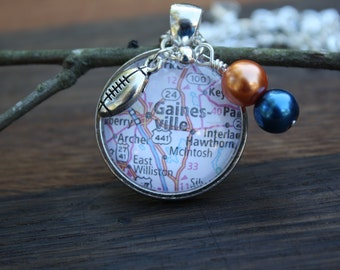 Florida Gators necklace, Gators jewelry, map of Gainesville FL, glass pendant with blue and orange beads, football charm, Go Gator Nation