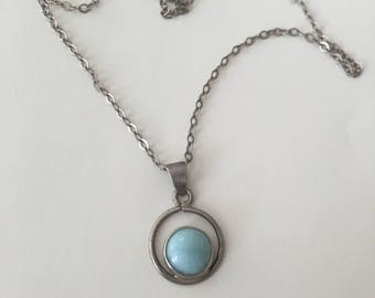 Vintage Sterling Silver Larimar Necklace 18 Inch Chain.