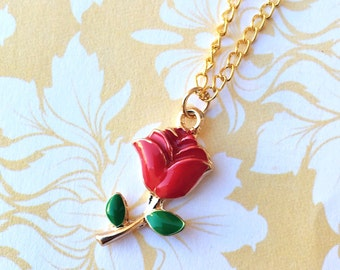 "Handcrafted ""Dainty Rose"" Red and Rose Gold Enamel Rose Necklace - Beauty & The Beast Inspired"