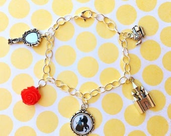 Beauty & The Beast Collection Silver Charm Bracelet with 5 Charms - Custom Lengths Available