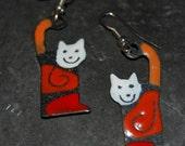 Vintage Enamel Black Orange Red and White Cat Earrings #BKC-KERNG94