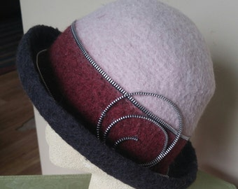 Felted Alpaca/Angora Cloche with Zipper Trim