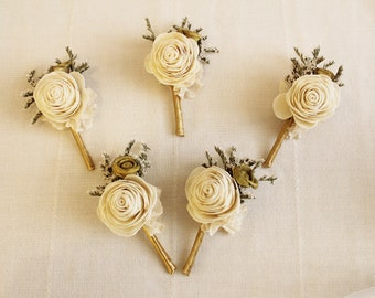 Boutonniere ''Gold'' ,  groom boutonniere, Sola Flower,  Wedding Flowers