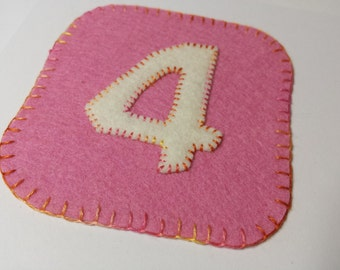 Number 4 Birthday fabric card for four year old girl hand stitched rainbow stitching - pink