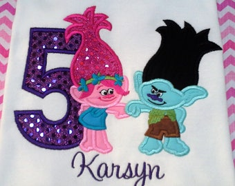 Trolls  Birthday shirt your choice of colors, personalized with name and number 1st, 2nd, 3rd,.. embroidery, applique
