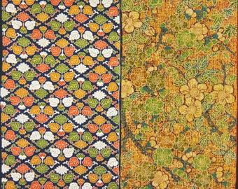 Vintage kimono silk fabric-2 pcs #7452