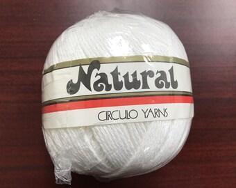 Circulo White Yarn Natural 100% Mercerized Cotton Yarn Color 8001 Lot 16006 Crochet Knit Soft Yarn