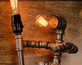 Designer Industrial Lighting - Steampunk Lamp Table Lamp Edison Vintage Light Water Pipe Bedside Lamp Rustic Light Fisherman