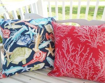 Fish Shell Outdoor Pillow Cover Patio Porch Decorative Coastal Beach Throw Pillow Red Navy Blue Yellow Green Sealife Accent Pillow