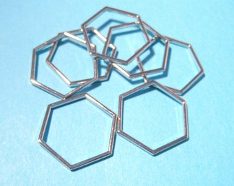 Silver Tone Hollow Hexagons Links Connectors 23mm(No.560)
